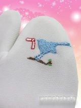 ワンポイント刺繍ストレッチ足袋■縁起つながりシリーズ■青い鳥と結び文様柄 23.0cm〜24.5cm対応