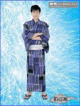 RKブランドメンズ綿麻浴衣3点セット Mサイズ 浴衣(黒×紫系/格子縞柄)+角帯+下駄3点セット No.182