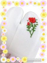 ワンポイント刺繍ストレッチ足袋■誕生花シリーズ■6月/バラ柄ラインストーン付 23.0cm〜24.5cm対応