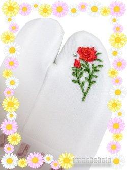 画像1: ワンポイント刺繍ストレッチ足袋■誕生花シリーズ■6月/バラ柄ラインストーン付 23.0cm〜24.5cm対応