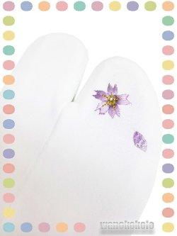 画像1: ワンポイント刺繍ストレッチ足袋■白系/桜柄ラインストーン付 23.0cm〜24.5cm対応
