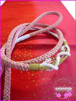 画像2: 振袖用正絹帯〆・帯揚げセット ピンク系×金系×白系/朱赤系×ピンク系暈しちらし柄 FGA-224