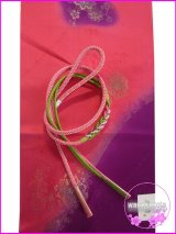 振袖用正絹帯〆・帯揚げセット ピンク系×黄緑色系/ピンク系×赤紫暈し更紗柄 FGA-221