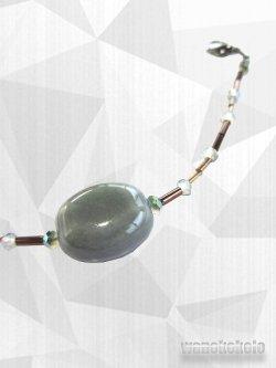画像2: 女性用羽織紐 磁器&ビーズ使用 青磁鼠系 JHH-16