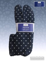 ストレッチニットデニムのような足袋■ネイビー系/水玉柄 23.0cm〜24.5cm対応
