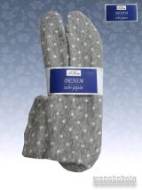 ストレッチニットデニムのような足袋■グレー系/水玉柄 23.0cm〜24.5cm対応