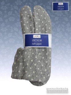 画像1: ストレッチニットデニムのような足袋■グレー系/水玉柄 23.0cm〜24.5cm対応