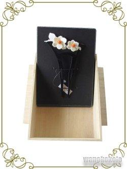 画像4: 日本製かんざし 銀杏型  黒系/山茶花柄 KNZ-203