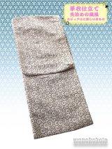 洗える着物 カジュアル単衣仕立て着物 先染めの織風素材「M」ベージュ系/唐草柄(ラメ入り)AZLM-12