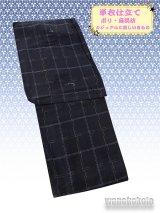 洗える着物 カジュアル単衣仕立て着物 ポリエステル・麻混紡素材「M」濃紺系/格子柄 AZLM-16