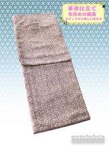 洗える着物 カジュアル単衣仕立て着物 先染めの織風素材「L」ベージュ系/唐草柄(ラメ入)AZLL-10