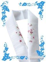 国産洗える絽刺繍半衿(ポリエステル) 白系/桔梗・小花(ピンク系)柄 PRSH-154