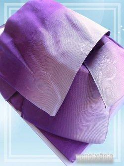 画像2: 日本製浴衣向き作り帯(結び帯) パープル系ぼかし/水玉柄 YMO-93