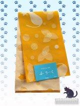 国産浴衣帯(柄帯)イエロー系/猫・花・水玉柄 GO-670