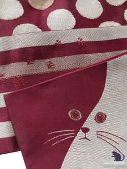 画像2: 半幅帯(小袋帯)臙脂系×ベージュ系/縞・ドット・猫フェース柄(ラメ入) H-162