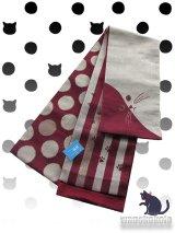 半幅帯(小袋帯)臙脂系×ベージュ系/縞・ドット・猫フェース柄(ラメ入) H-162