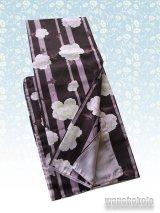 洗える着物 袷小紋 平織「M」 茶×薄小豆色系/縞・牡丹柄 AHM-402