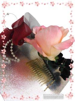 画像3: 手作り髪飾り★夢咲彩★コーム/ピンク系薔薇・二重つまみ 24-YM-16