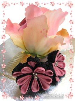 画像4: 手作り髪飾り★夢咲彩★コーム/ピンク系薔薇・二重つまみ 24-YM-16