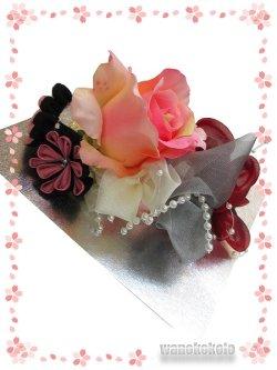 画像2: 手作り髪飾り★夢咲彩★コーム/ピンク系薔薇・二重つまみ 24-YM-16