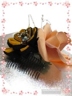 画像2: 手作り髪飾り★夢咲彩★コーム/ペールオレンジ系薔薇・二重つまみ 24-YM-22