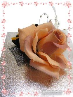 画像5: 手作り髪飾り★夢咲彩★コーム/ペールオレンジ系薔薇・二重つまみ 24-YM-22