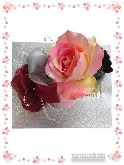 画像1: 手作り髪飾り★夢咲彩★コーム/ピンク系薔薇・二重つまみ 24-YM-16
