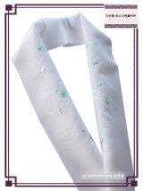 国産洗える半衿(刺繍) ポリエステル 白系/桔梗・流水(アイスグリーン系)柄 PSH-83