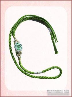 画像2: 振袖用ポリエステル帯〆 黄緑色系 つまみ細工の花 白系×黄緑色系 パール飾り付 FGM688-2
