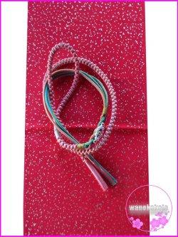 画像1: 振袖用正絹帯〆・帯揚げセット ピンク系×水色系×金系/赤系金タタキ柄 FGA-258