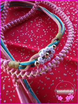 画像2: 振袖用正絹帯〆・帯揚げセット ピンク系×水色系×金系/赤系金タタキ柄 FGA-258