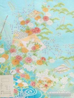 画像3: 洗える着物  国産袷附下 フリーサイズ 水色系/色紙・草花柄 KTK-141