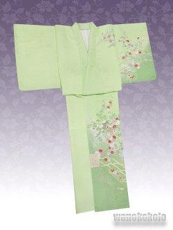 画像2: 洗える着物  国産袷附下 フリーサイズ 黄緑系/雪輪に椿・草花柄 KTK-140