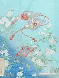画像3: 洗える着物  国産袷附下 フリーサイズ 水色系/巻物柄 KTK-143