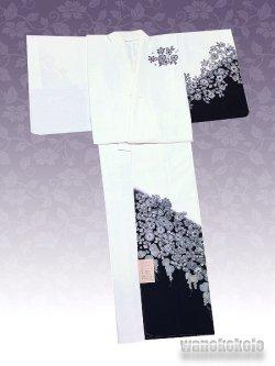 画像2: 洗える着物 国産袷附下 フリーサイズ 白系/辻が花柄 KTK-163