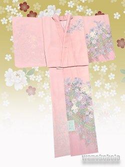 画像2: 洗える着物 国産単衣附下 フリーサイズ ピンク系/辻が花・色紙柄 HTK-323
