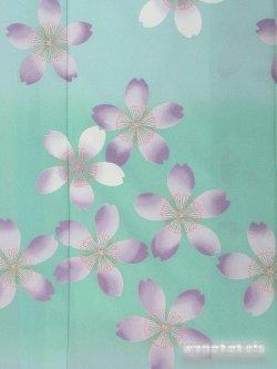 画像3: 洗える着物  国産袷附下 フリーサイズ ブルーグリーン系/桜柄 KTK-122