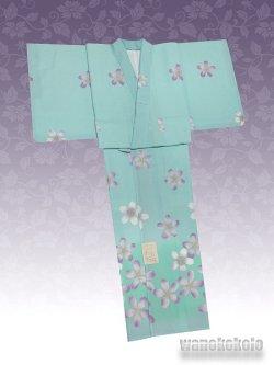 画像2: 洗える着物  国産袷附下 フリーサイズ ブルーグリーン系/桜柄 KTK-122