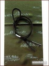 正絹帯〆・帯揚げセット★丸★オリーブグリーン系/松葉色系草花ちらし柄 OGA-524