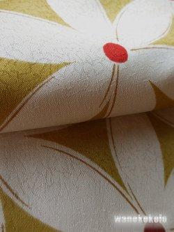 画像2: 洗える着物 袷小紋 変り織「M」●ヒロミチナカノ● 辛子色系/花柄 AKM-1