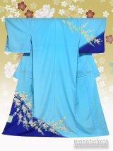 洗える着物 国産単衣附下 フリーサイズ ブルー系/桜柄 HTK-324