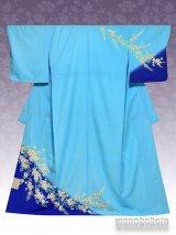 洗える着物 国産袷附下 フリーサイズ ブルー系/桜柄 KTK-166