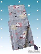 洗える着物 袷小紋 平織「M」 白×グレー系/縞・色紙に猫 AHM-413