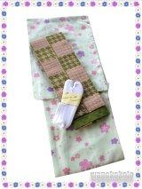 洗える着物(単衣小紋)Mサイズ+半幅帯(小袋帯) セット/ストレッチ刺繍足袋Fサイズ付き 輝-46