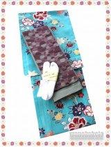 洗える着物(単衣小紋)Lサイズ+半幅帯(小袋帯) セット/ストレッチ刺繍足袋Fサイズ付き 輝-49