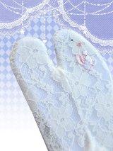 ワンポイント刺繍ストレッチレース足袋 白系/うさちゃん・ハート柄 フリーサイズ