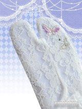 ワンポイント刺繍ストレッチレース足袋 白系/蝶柄 フリーサイズ