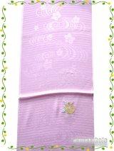 正絹夏物帯揚げ 薄紫系ハイビスカス柄(刺繍入)柄 SNAG-20