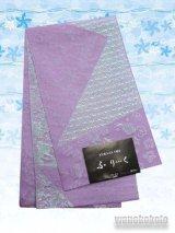 国産浴衣帯(柄帯)ライラック系/草花柄ラメ入 GO-521