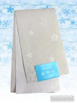 国産浴衣帯(柄帯)オフホワイト系/桜・矢絣柄ラメ入 GO-506